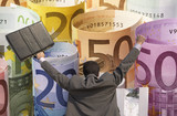Back view of victorious businessman with briefcase against rolled up Euros