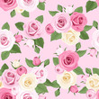 Vector seamless pattern with pink and white roses on pink.