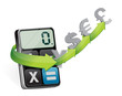 currency exchange and modern calculator