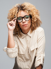 Cute Afro Woman with Black Glasses