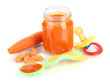 Baby puree with nipple and carrot isolated on white