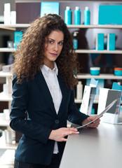 attractive woman receptionist