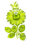 flower green Ukraine ethnic style vector
