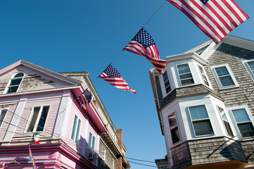 Flying Flags at Commercial Street in Provincetown, MA