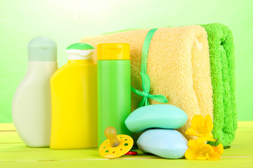 Baby cosmetics, soap and towels