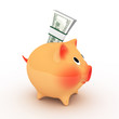 Pink piggy bank with pack of dollars