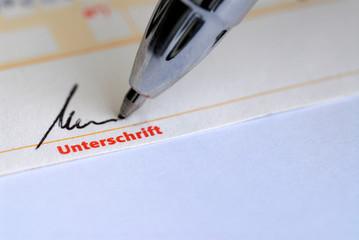 Unterschrift, Signatur, Vertrag, Gültigkeit, eigenhändig