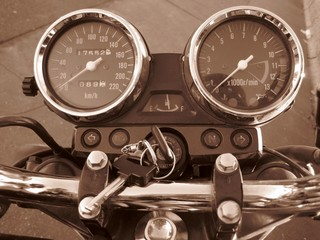 Motorbike speed, fuel, gauge and other indicators