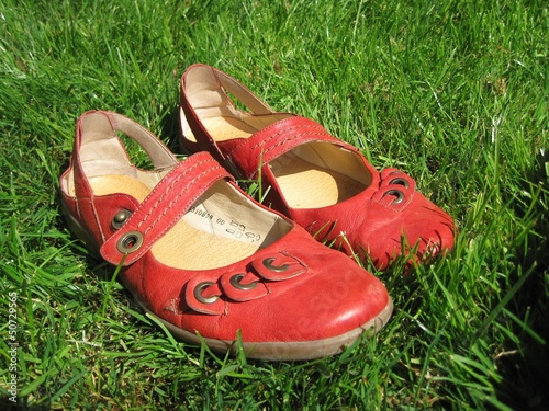 Red shoes in the grass on a sunny gay