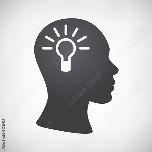 Kopf mit Glühbirne
