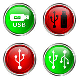 USB buttons on white background.