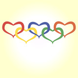 illustration of hearts in olympic style