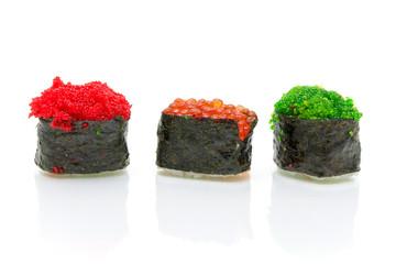 Japanese sushi on a white background with reflection