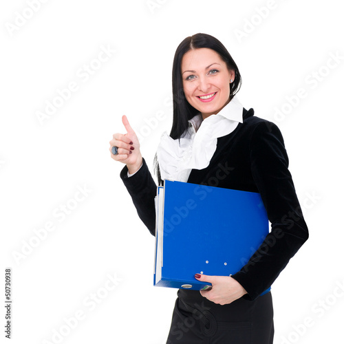 Smiling young businesswoman the thumb-up