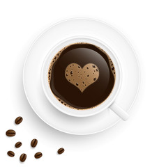 Heart coffee cup with beans