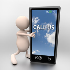 3D People with mobile phone and words call us