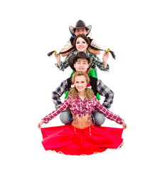 cabaret dancer team dressed in cowboy costumes