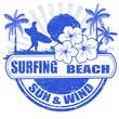 Surfing beach stamp