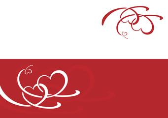 Geschwungene Herzen auf rot + in rot, Double
