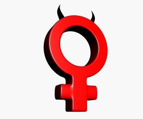 Female symbol with horns on white background - 3d illustration