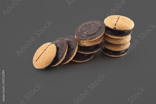 Jaffa cakes - traditional cookies covered with chocolate and fil