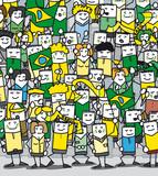 Supporters Brésiliens en délire qui encouragent leur équipe poster