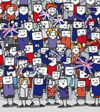 Supporters anglais en délire qui encouragent leur équipe poster