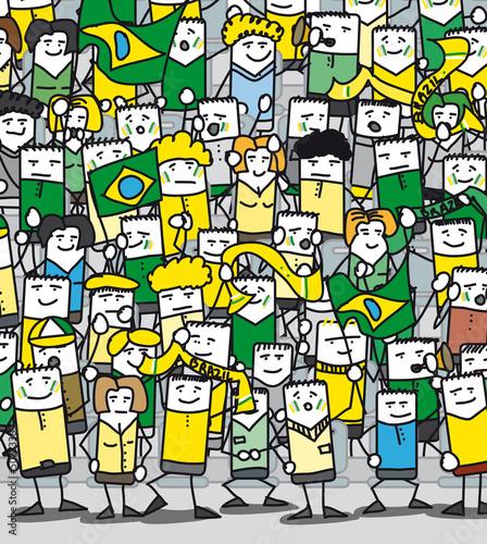 Supporters Brésiliens en délire qui encouragent leur équipe