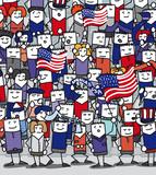 Supporters américains en délire qui encourage leur équipe poster