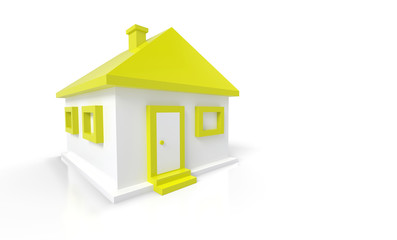 Kleines 3D Einfamilienhaus Gelb