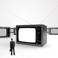 man looking tv
