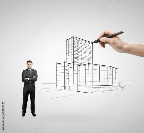skyscraper and businessman
