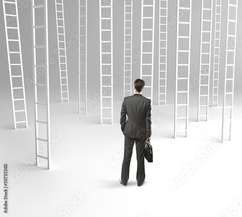 man and many ladder