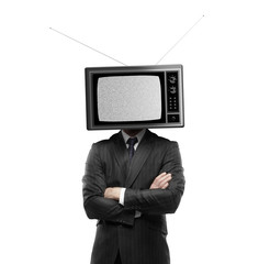 man with tv head