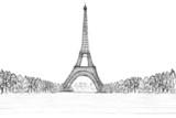 sketching of eifel tower poster