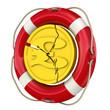 Монета британского фунта с трещинами в спасательном кругу