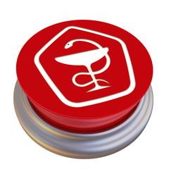 Красная кнопка с изображением знака качества медикаментов