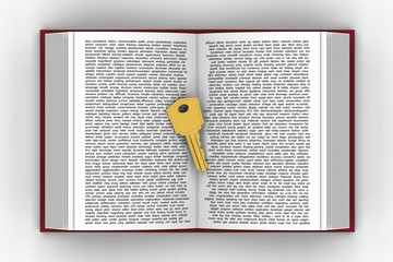 3D model of golden key put on words book