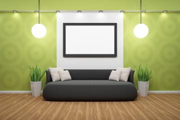 Bilderrahmen mit schwarzem Sofa und grüner Wand