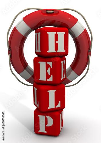Спасательный круг висит на слове HELP из красных кубиков