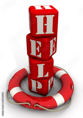 Слово HELP из красных кубиков стоит в спасательном кругу