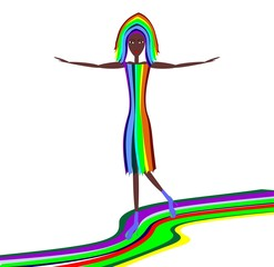 girl goes on a color path, vector