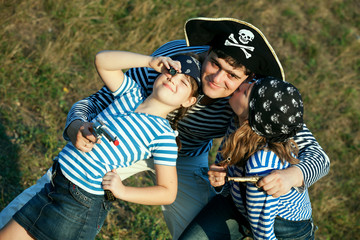 happy pirate family