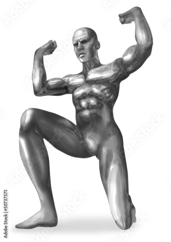 Illustration of a chrome man in atlas pose
