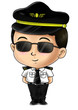 Cute cartoon illustration of a pilot