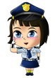 Cute cartoon illustration of a policewoman