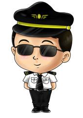 Cute cartoon illustration of a pilot