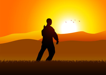 Silhouette illustration of a man figure doing taichi