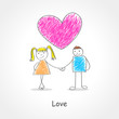 Doodle style illustration of a couples holding hands