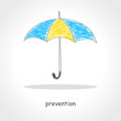 Doodle style illustration of an umbrella